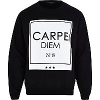 Black carpe diem print sweatshirt