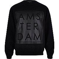 Black Amsterdam matte front print sweatshirt
