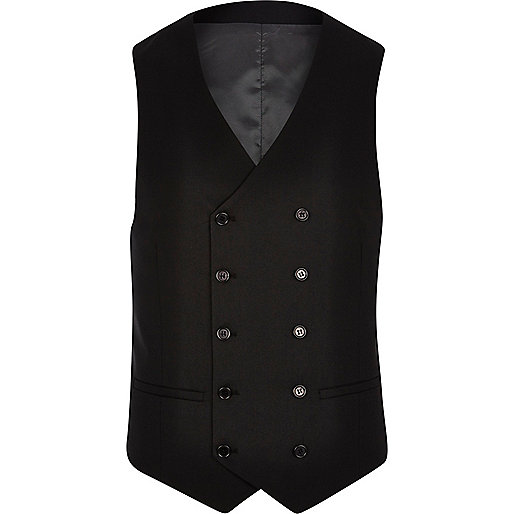 Black double breasted waistcoat