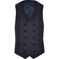Petrol blue double breasted waistcoat