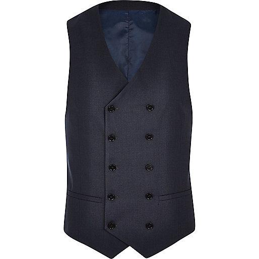 Petrol blue double breasted waistcoat