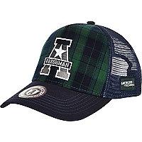 Navy American Freshman tartan trucker hat