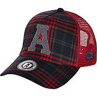 Red American Freshman tartan trucker hat