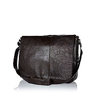 Dark brown flap over messenger bag