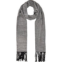 Black and white herringbone woven scarf