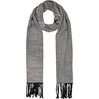 Black and white herringbone woven scarf