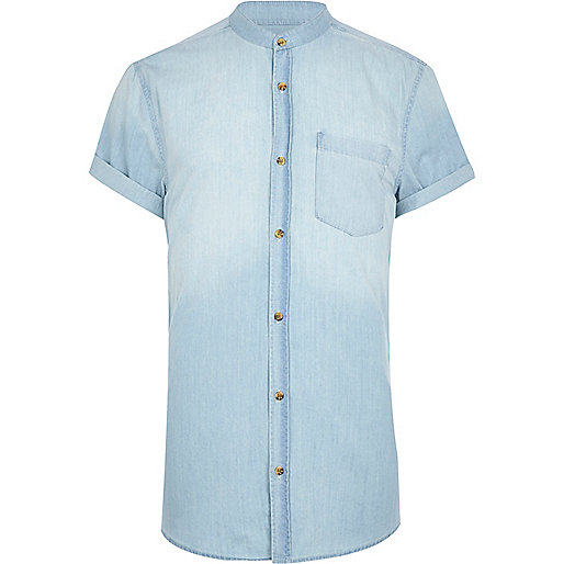 Light wash denim grandad shirt
