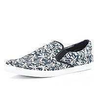 Blue tropical print plimsolls