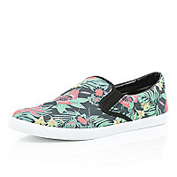 Navy floral print slip on plimsolls