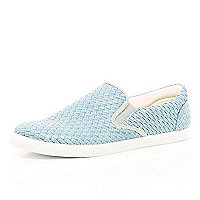 Light blue woven plimsolls