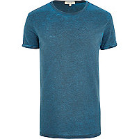 Blue twice-dyed burnout t-shirt