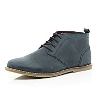 Blue lace up chukka boots