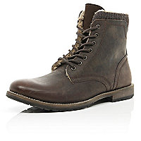 Dark brown shearling lined military boots