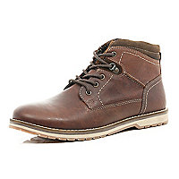 Tan lace up worker boots