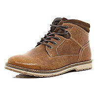 Tan lace up low worker boots