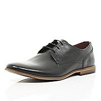 Black leather lace up formal shoes