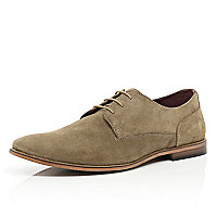 Stone suede lace up shoes