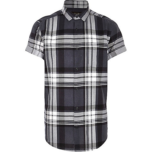 Dark grey large check short sleeve shirt
