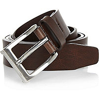 Brown basic silver tone buckle belt