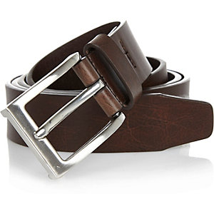 Brown basic silver tone buckle belt