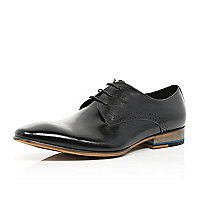 Black high shine lace up shoes