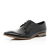 Black high shine lace up shoes