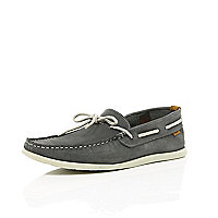 Dark grey nubuck boat shoes