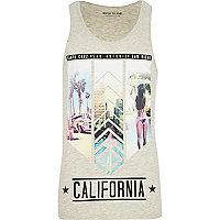 Ecru marl California print vest