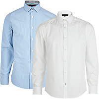 Blue and white gingham shirt pack