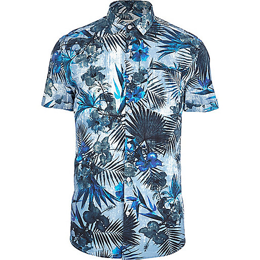 Blue tropical flower print short sleeve shirt