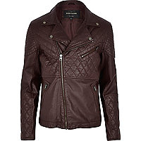 Dark red leather-look quilted biker jacket