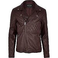 Dark red leather-look quilted biker jacket