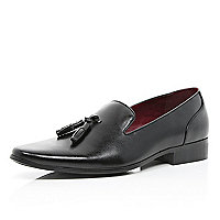 Black tassel trim slip on formal shoes