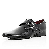 Black monk strap formal shoes