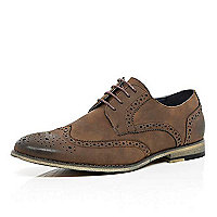 Brown suede lace up brogues