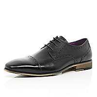 Black leather toe cap brogues