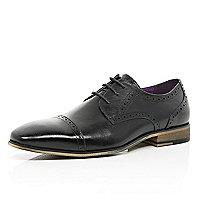 Black leather toe cap brogues