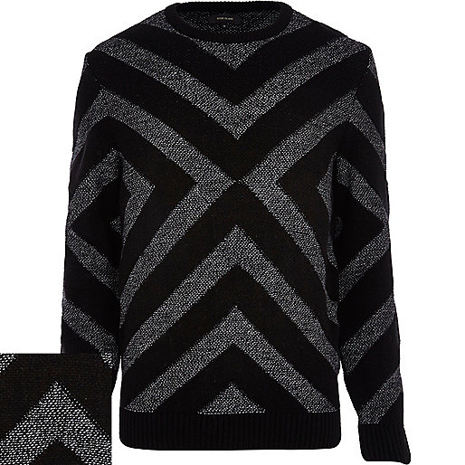 Grey geometric pattern jumper