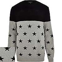 Grey colour block star jumper