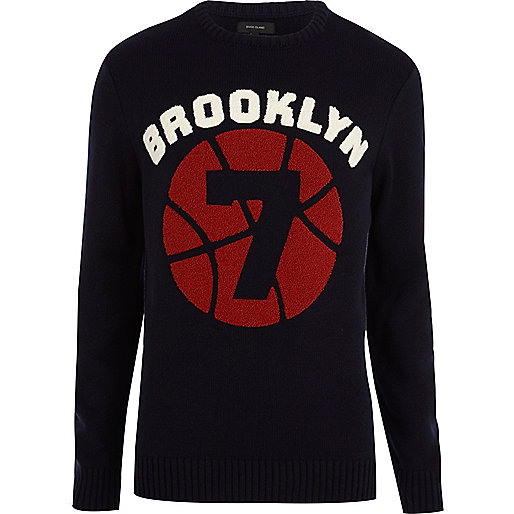 Navy Brooklyn baseball jumper