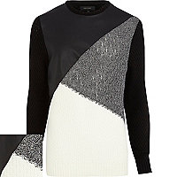 Black leather-look colour block jumper