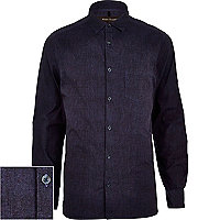 Navy textured long sleeve poplin shirt