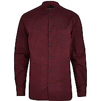 Dark red textured grandad poplin shirt