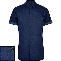 Dark blue textured short sleeve shirt