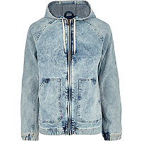 Light acid wash hooded denim jacket