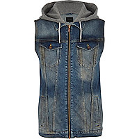 Mid wash hooded zip through denim gilet