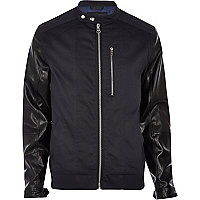 Navy leather-look sleeve biker jacket