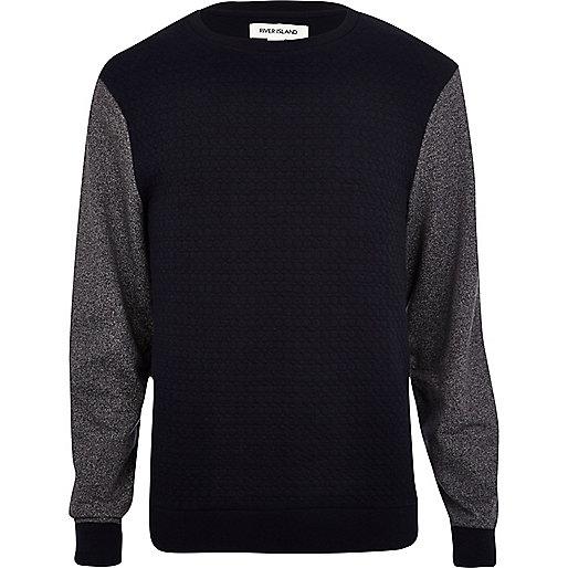 Navy quilted contrast sleeve sweatshirt