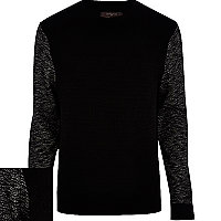 Black quilted contrast sleeve sweatshirt