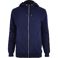 Navy high neck zip through hoodie
